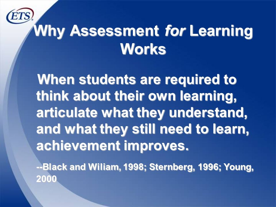 Why Assessment for Learning Works