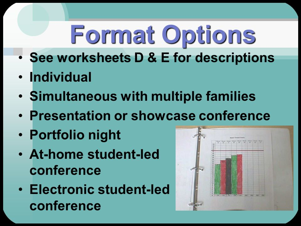 Format Options See worksheets D & E for descriptions Individual