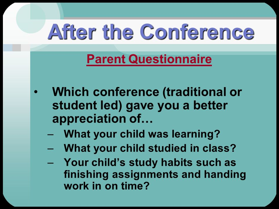 After the Conference Parent Questionnaire