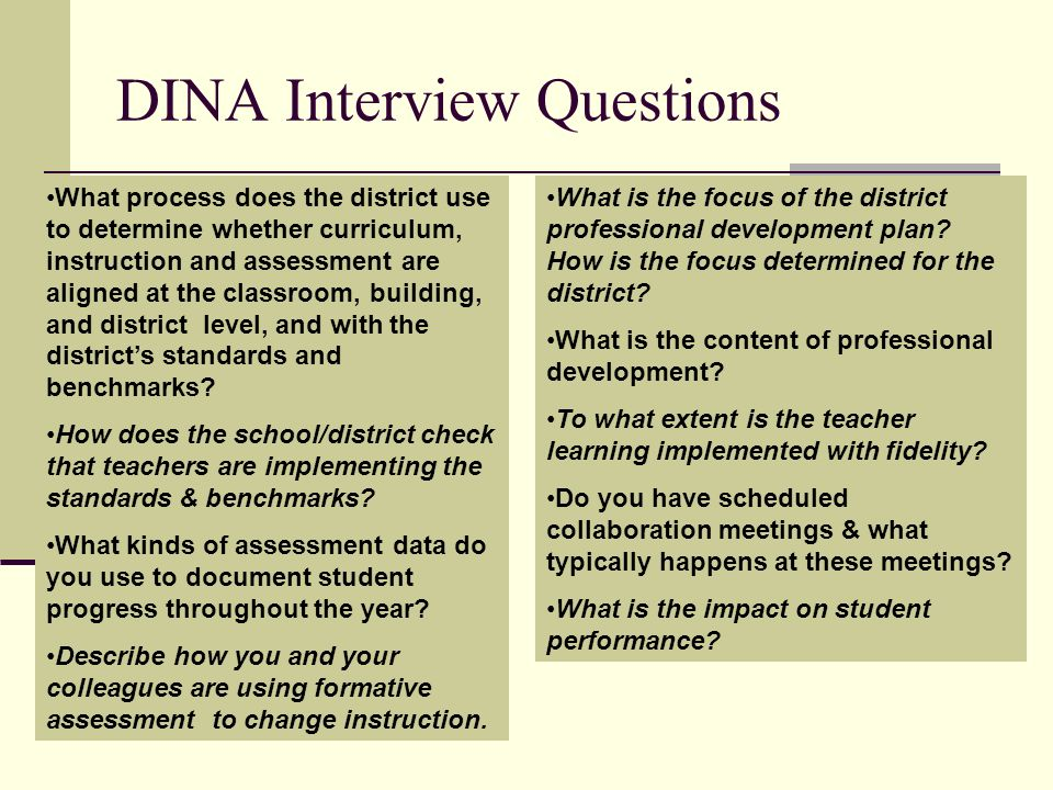 DINA Interview Questions