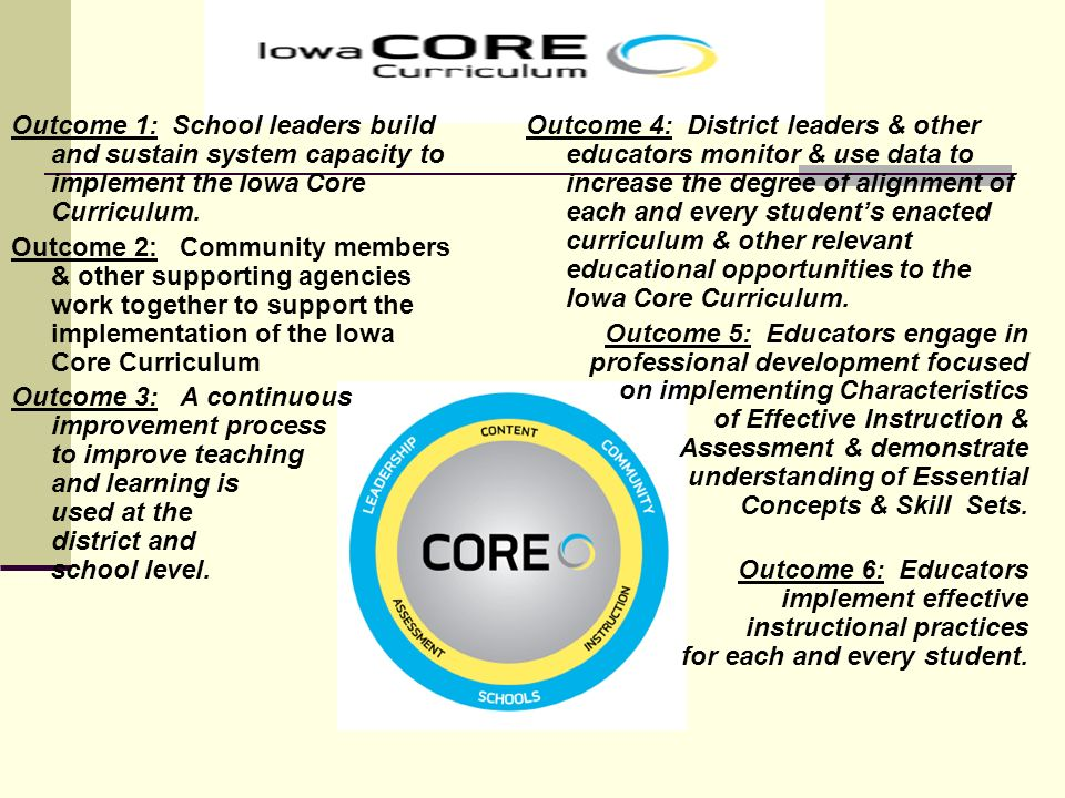 Outcome 1: School leaders build and sustain system capacity to implement the Iowa Core Curriculum.
