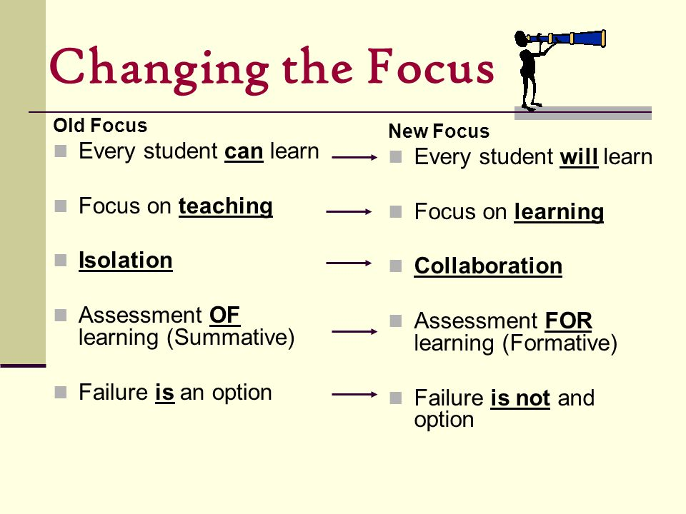 Changing the Focus Every student can learn Every student will learn