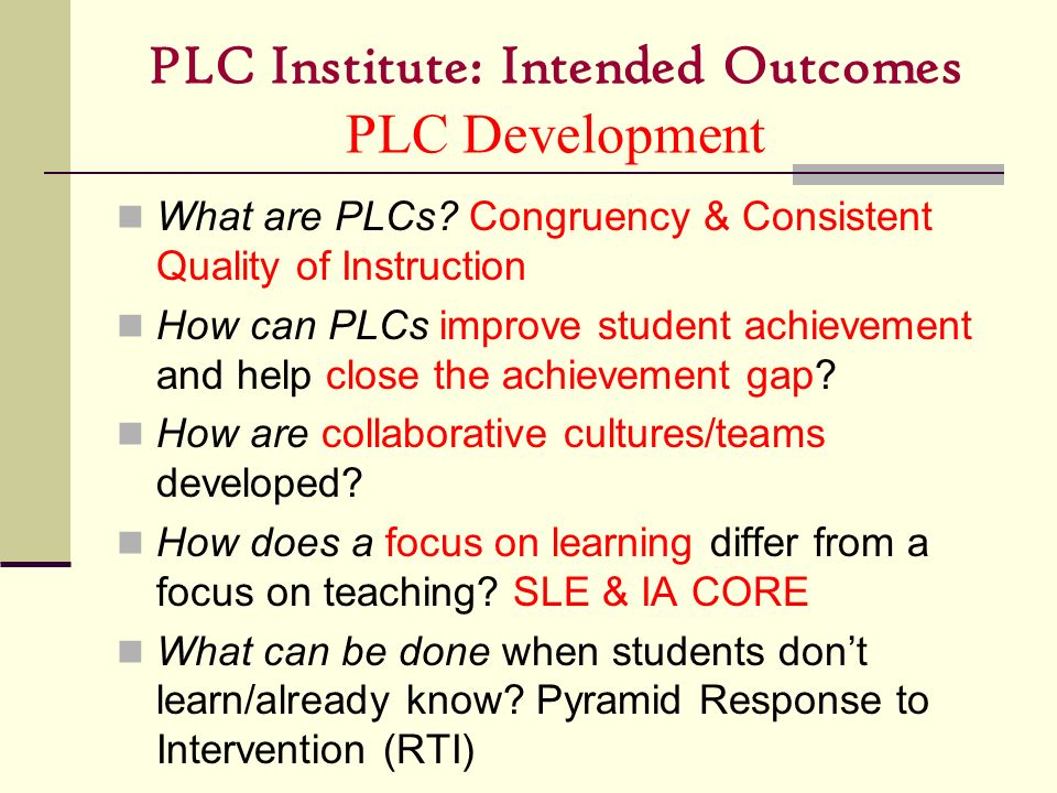 PLC Institute: Intended Outcomes PLC Development