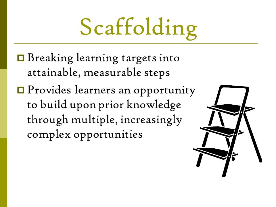 Scaffolding Breaking learning targets into attainable, measurable steps.