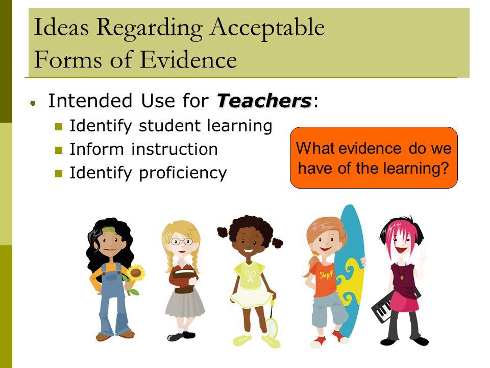 Ideas Regarding Acceptable Forms of Evidence