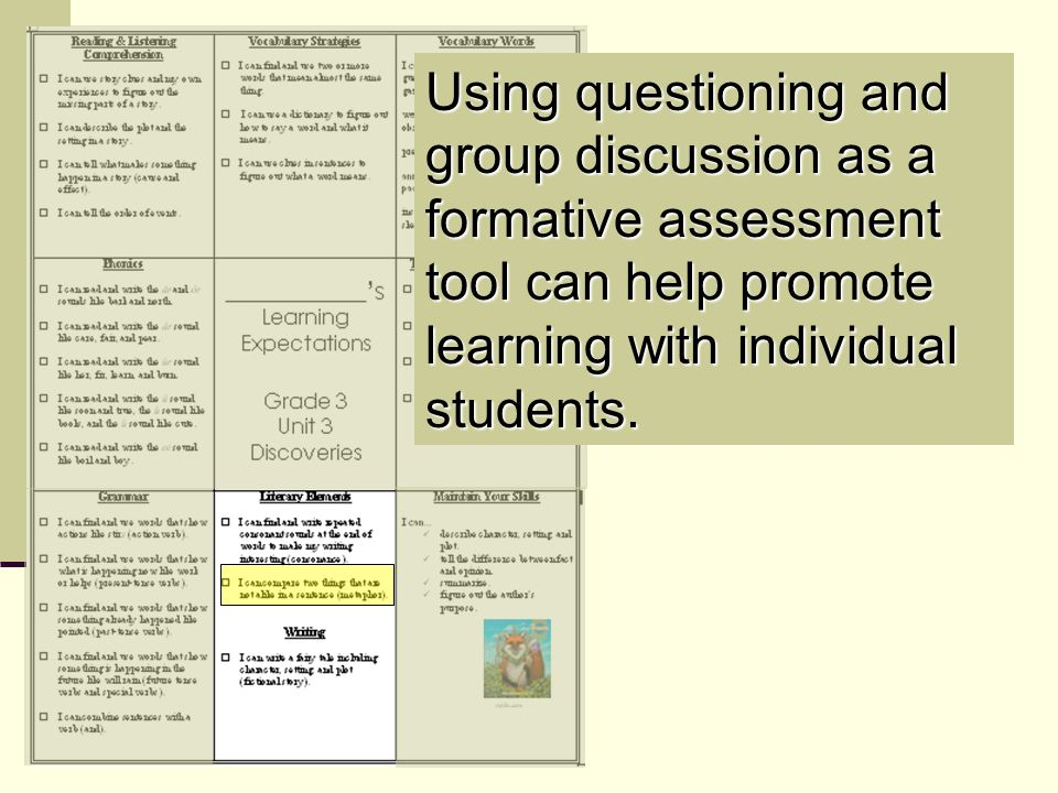 Using questioning and group discussion as a formative assessment tool can help promote learning with individual students.