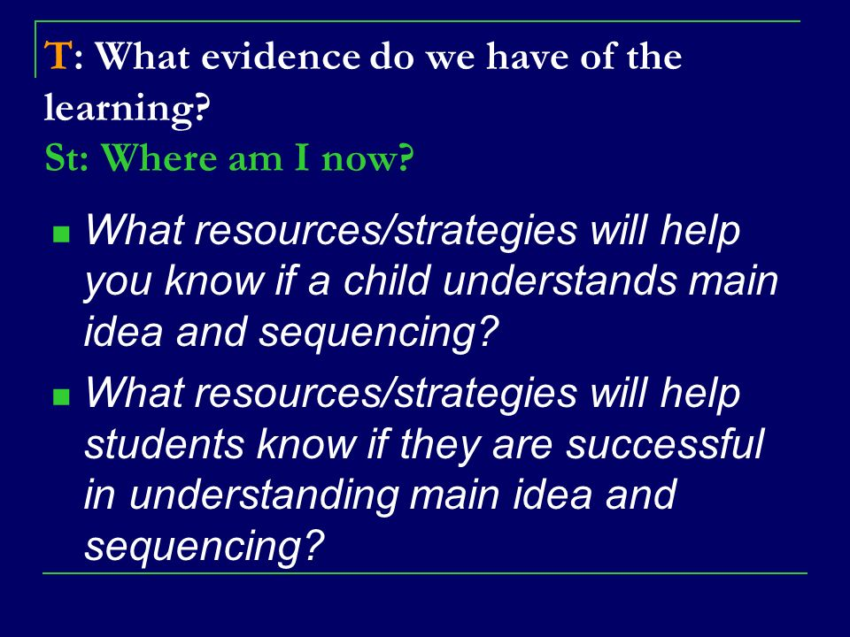 T: What evidence do we have of the learning St: Where am I now