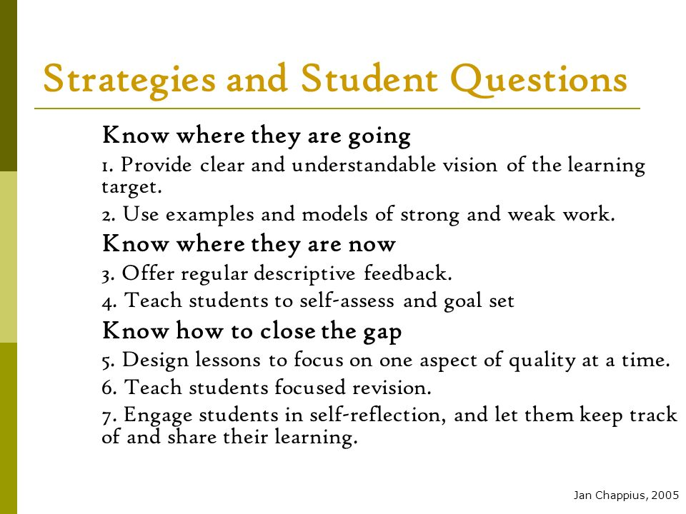 Strategies and Student Questions