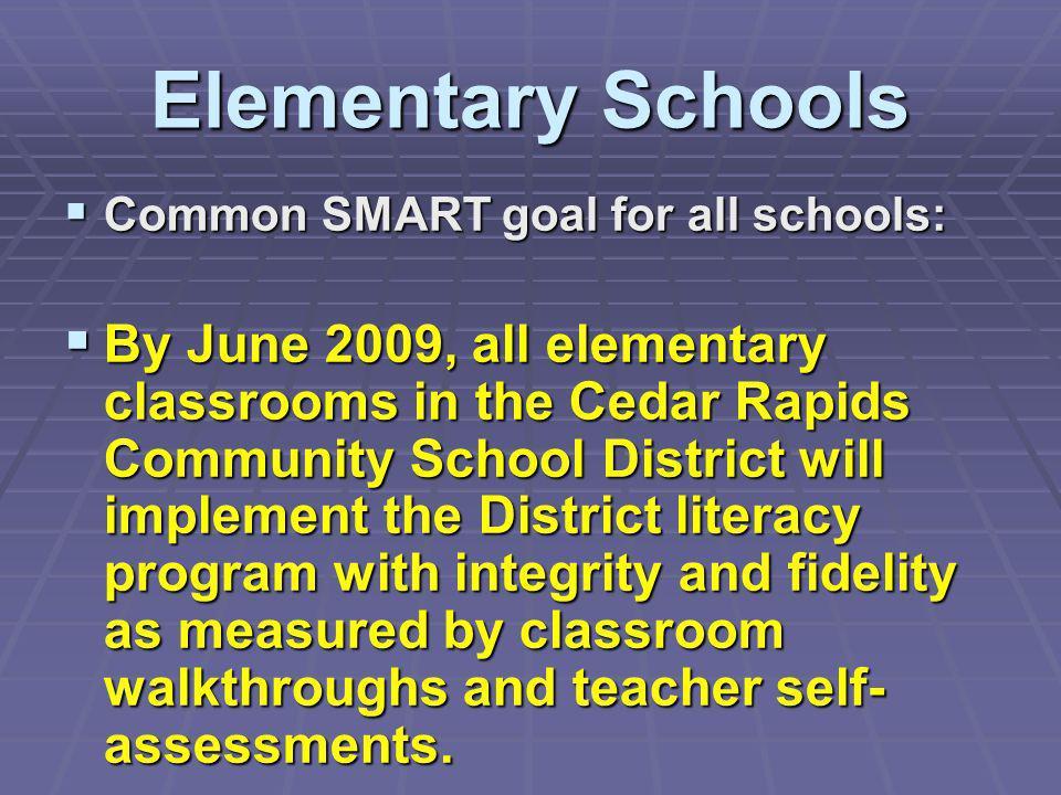 Elementary SchoolsCommon SMART goal for all schools: