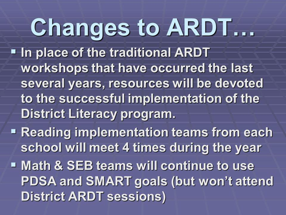 Changes to ARDT…