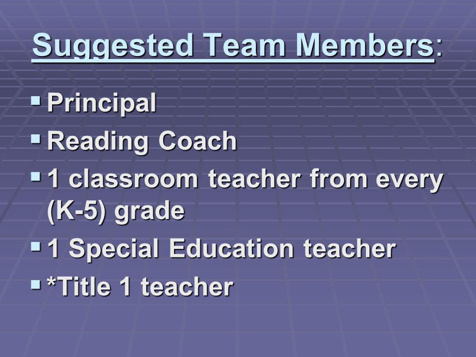 Suggested Team Members: