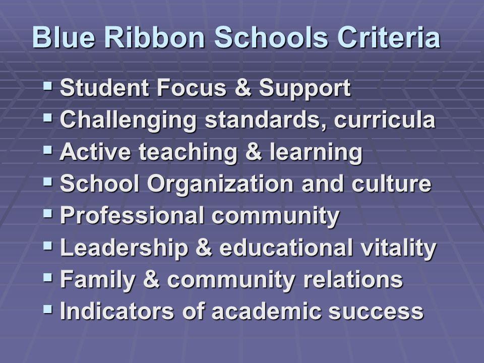 Blue Ribbon Schools Criteria
