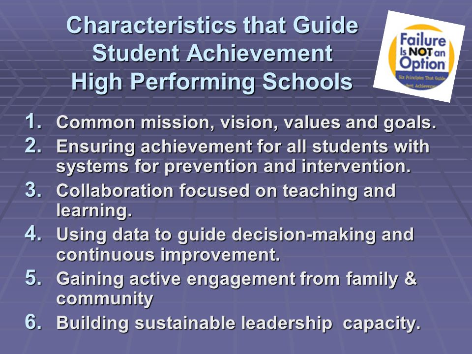 Characteristics that Guide Student Achievement High Performing Schools