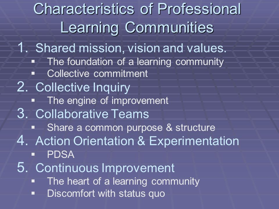 Characteristics of Professional Learning Communities