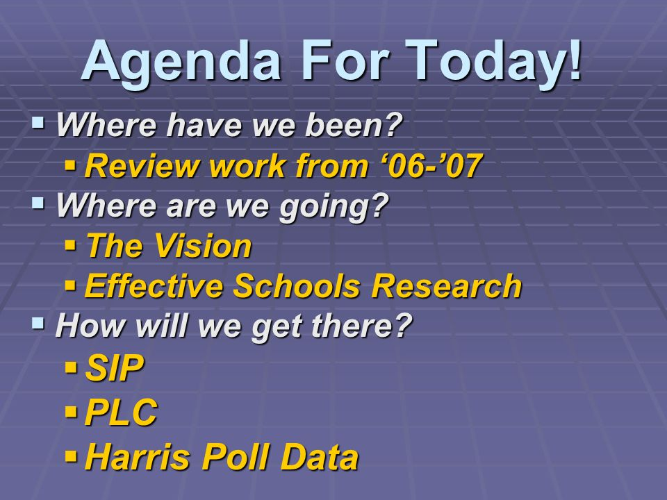 Agenda For Today! SIP PLC Harris Poll Data Where have we been