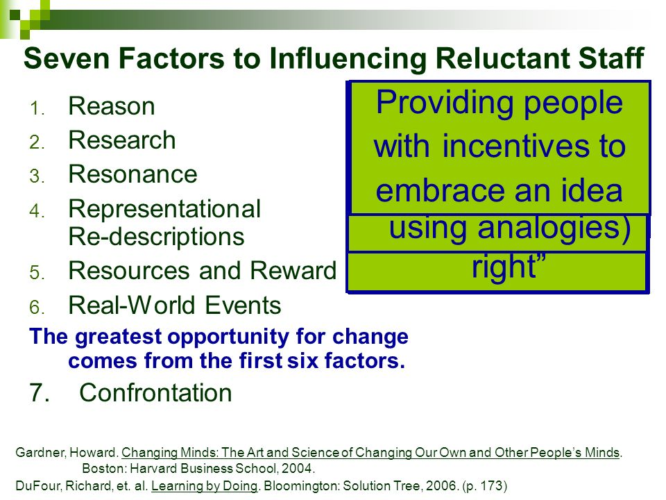 Seven Factors to Influencing Reluctant Staff