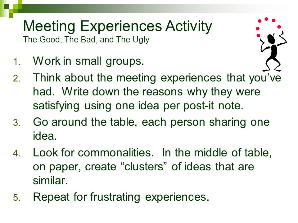 Meeting Experiences Activity