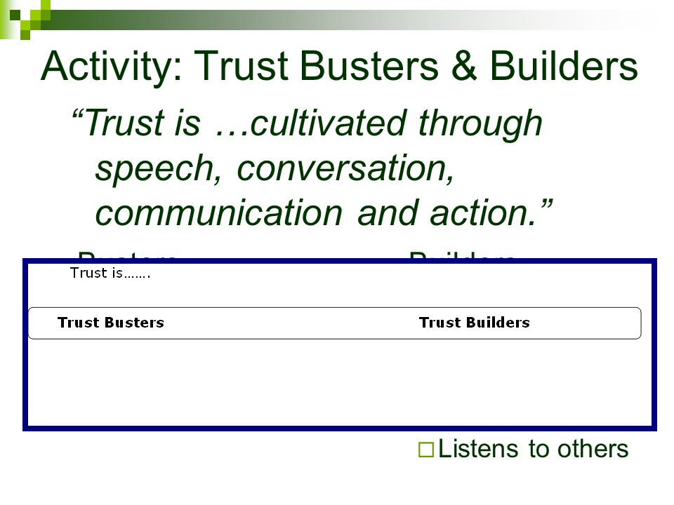 Activity: Trust Busters & Builders