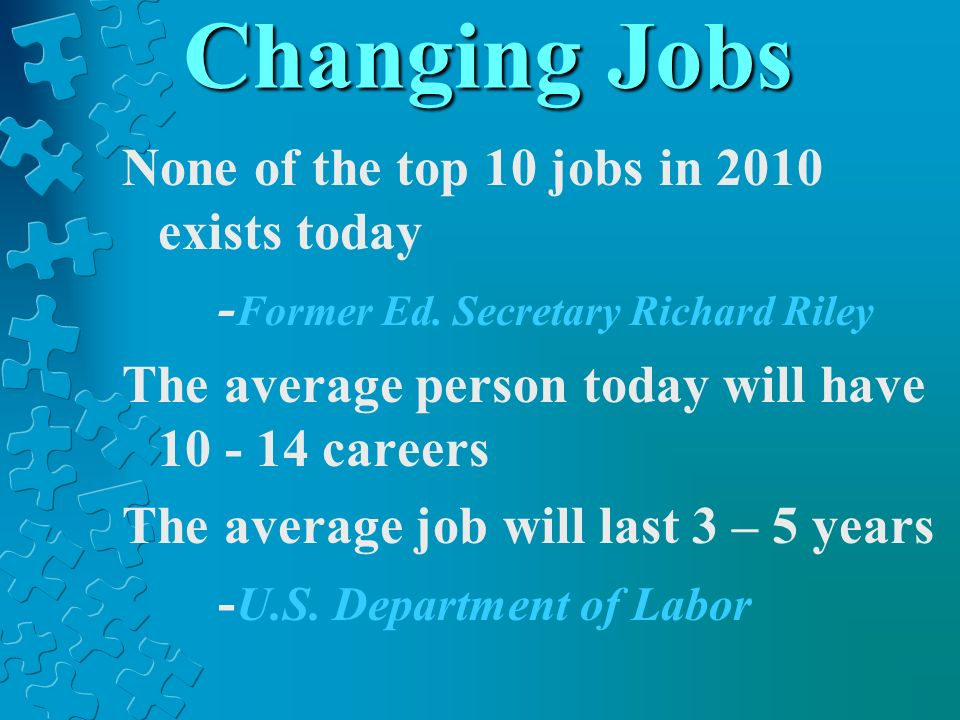 Changing Jobs None of the top 10 jobs in 2010 exists today