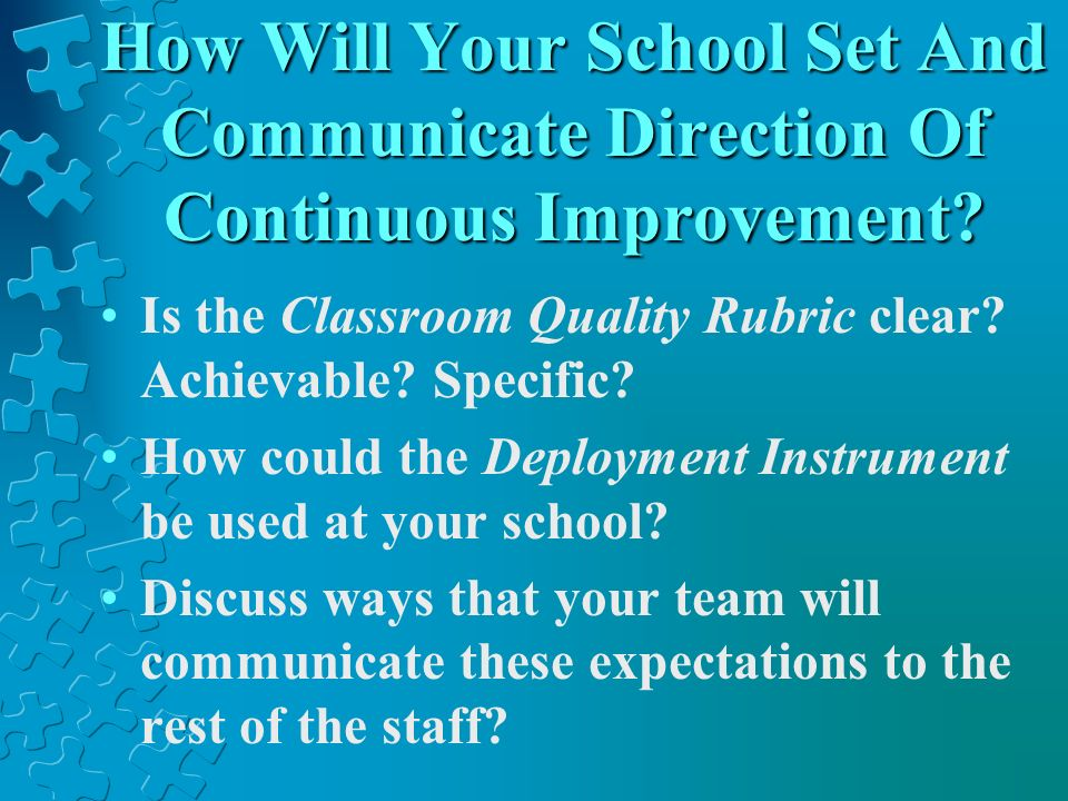 How Will Your School Set And Communicate Direction Of Continuous Improvement