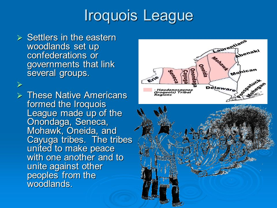 Iroquois LeagueSettlers in the eastern woodlands set up confederations or governments that link several groups.
