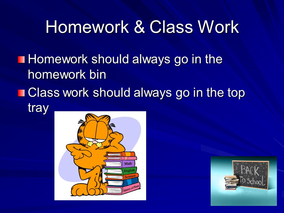 Homework & Class Work Homework should always go in the homework bin