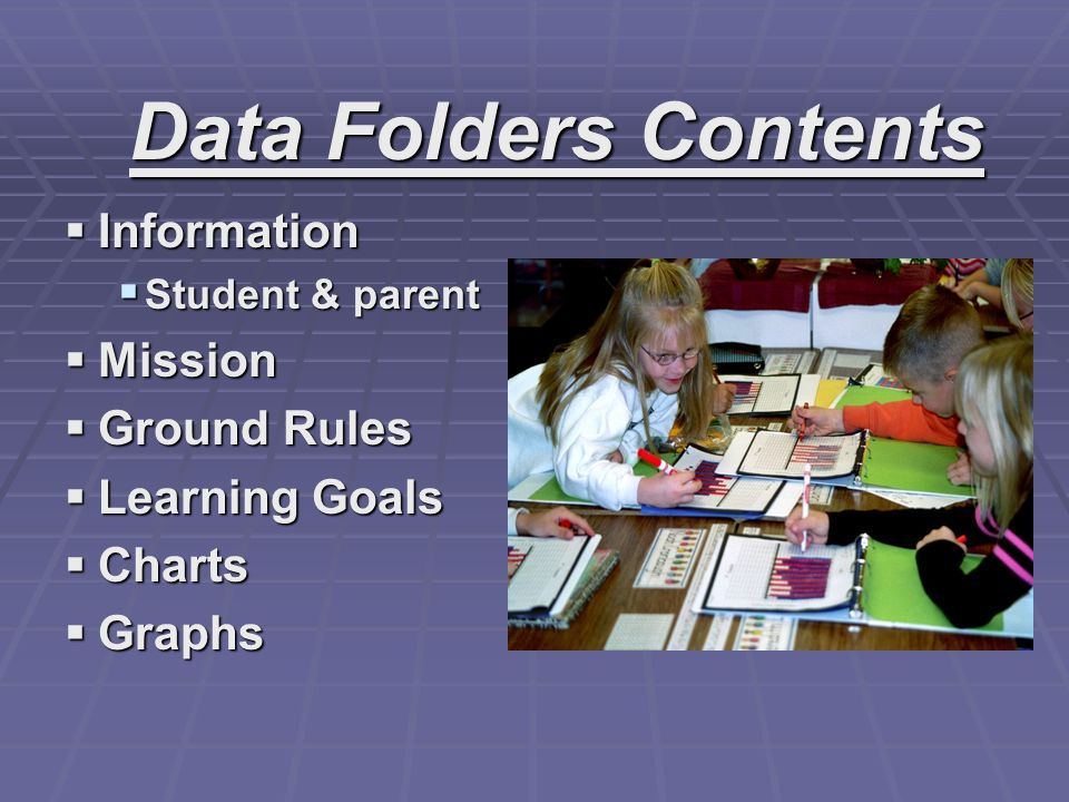Data Folders Contents Information Mission Ground Rules Learning Goals