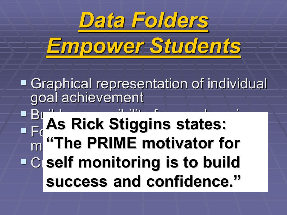 Data Folders Empower Students