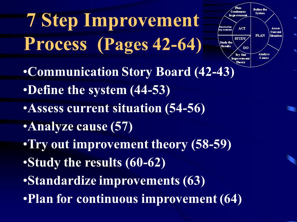 7 Step Improvement Process (Pages 42-64)