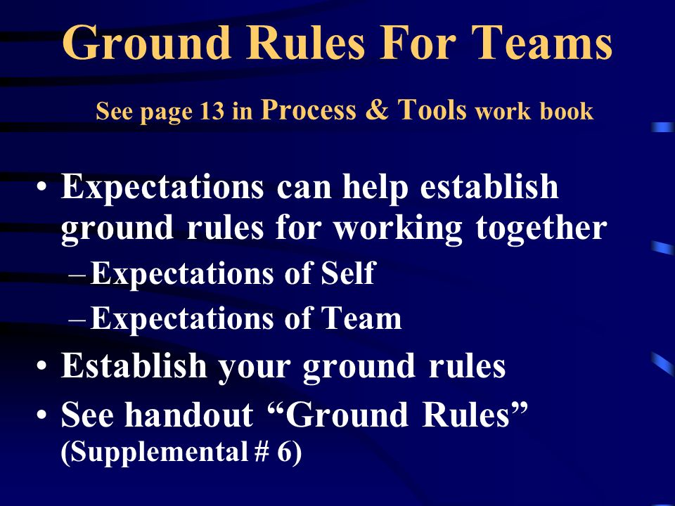 Ground Rules For Teams See page 13 in Process & Tools work book