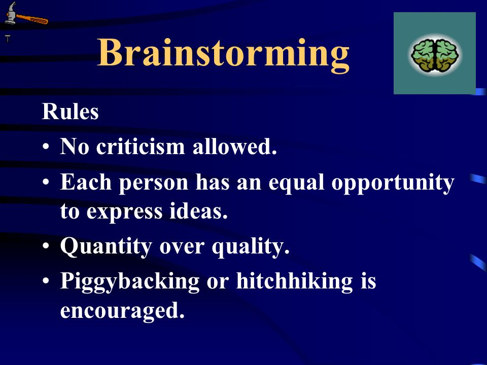 Brainstorming Rules No criticism allowed.