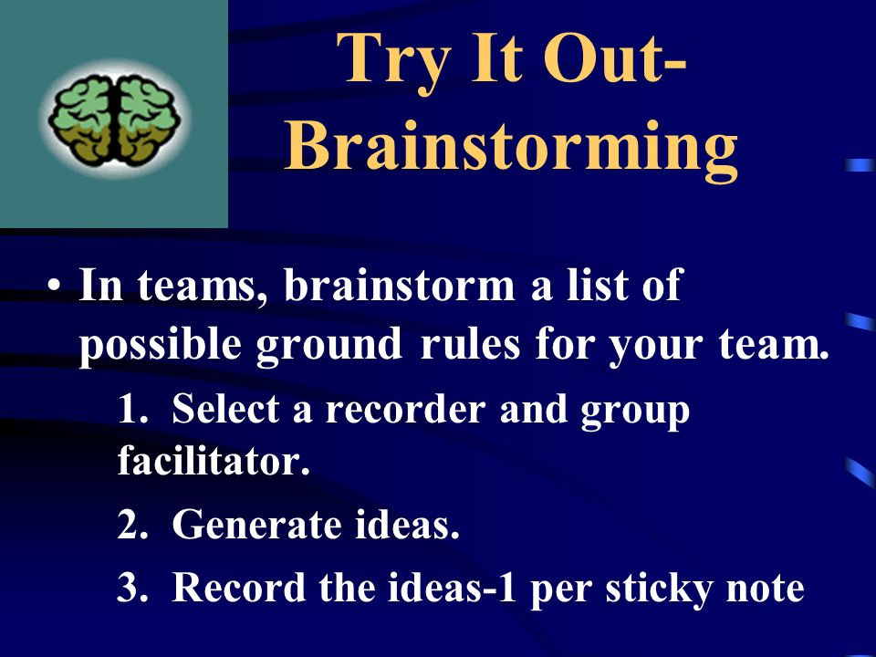 Try It Out- Brainstorming