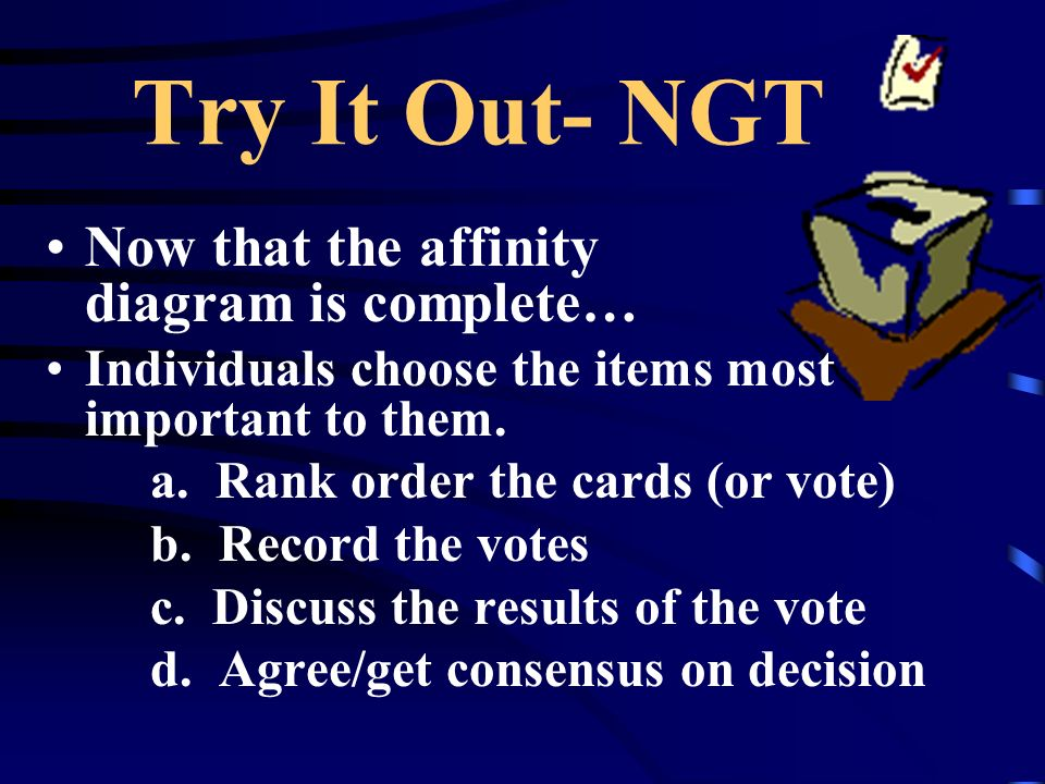 Try It Out- NGT Now that the affinity diagram is complete…