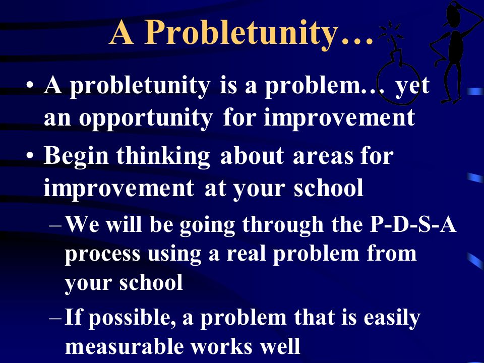 A Probletunity… A probletunity is a problem… yet an opportunity for improvement. Begin thinking about areas for improvement at your school.