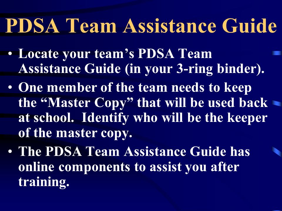 PDSA Team Assistance Guide