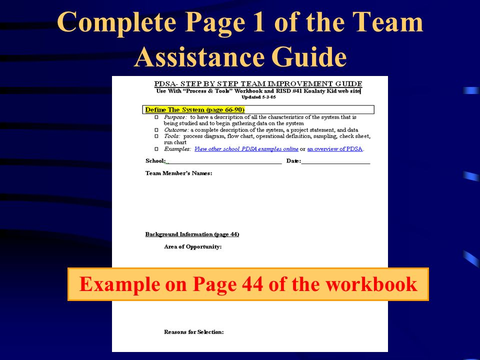 Complete Page 1 of the Team Assistance Guide