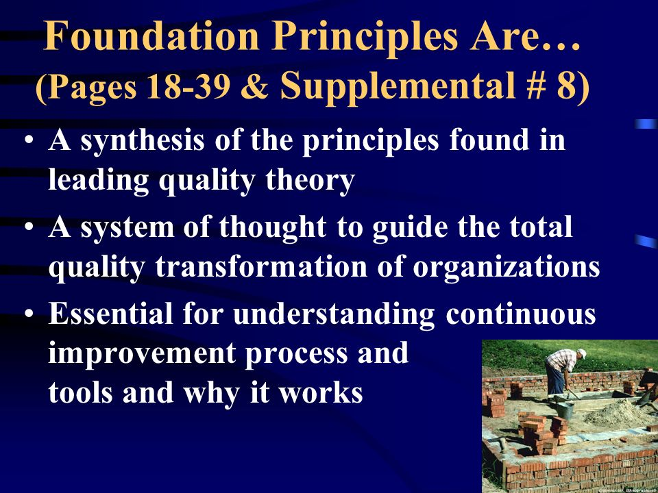 Foundation Principles Are… (Pages 18-39 & Supplemental # 8)