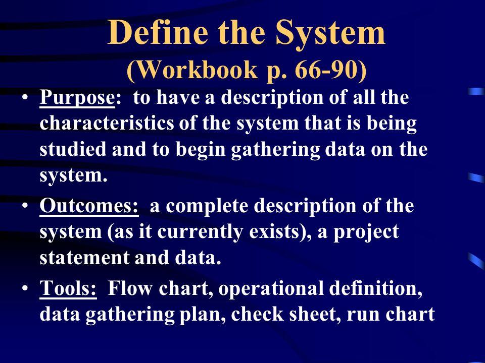 Define the System (Workbook p. 66-90)