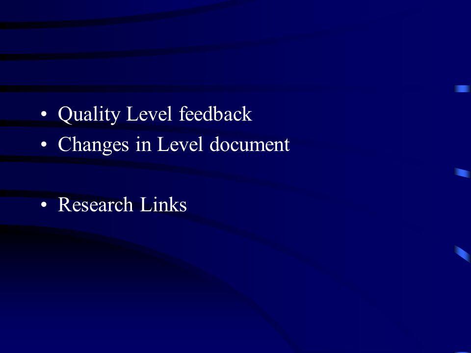 Quality Level feedback