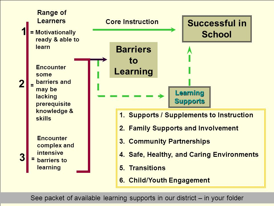 1 2 = 3 = Successful in School Barriers to Learning Range of Learners