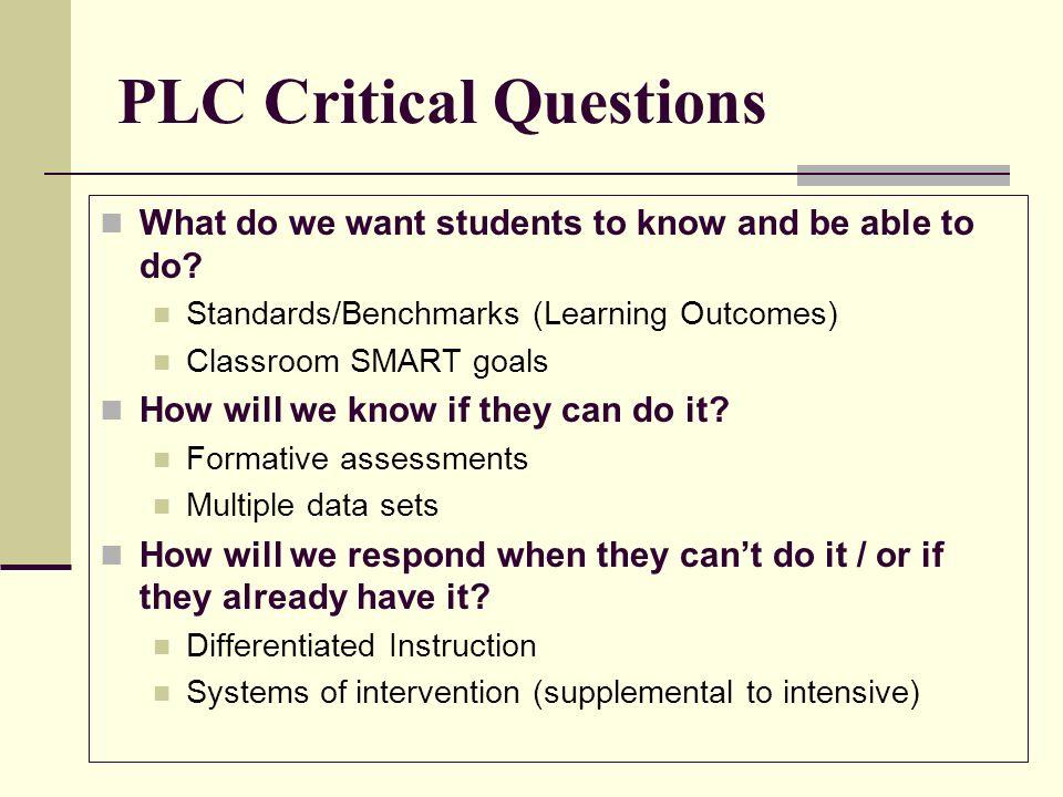PLC Critical Questions