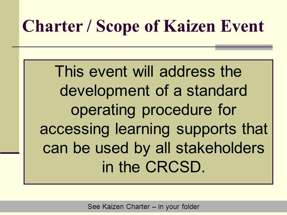 Charter / Scope of Kaizen Event