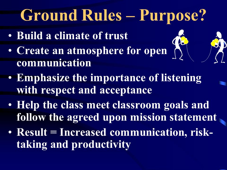 Ground Rules – Purpose Build a climate of trust