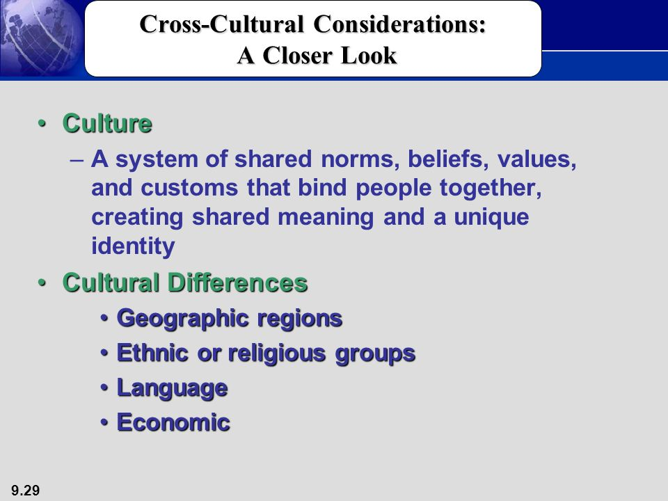 an examination of the value of cross cultural comparison Exam 1 cultural anthropology  rather than according to the values of another culture  cross-cultural researchers attempt to compare cultures to derive laus or.