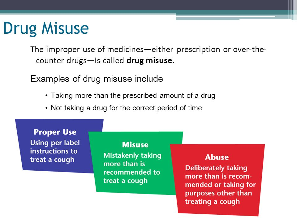 Drug Misuse The improper use of medicines—either prescription or over-the-counter drugs—is called drug misuse.