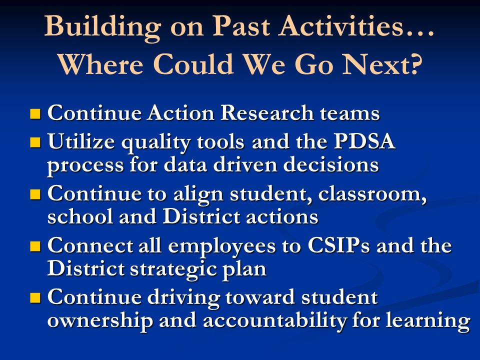 Building on Past Activities… Where Could We Go Next