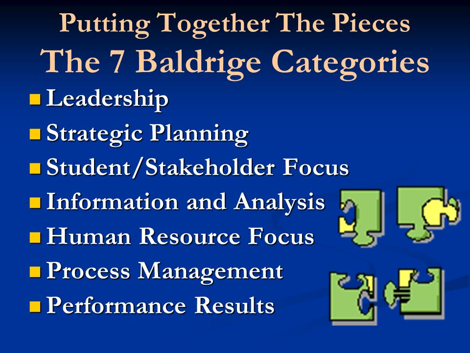 Putting Together The Pieces The 7 Baldrige Categories