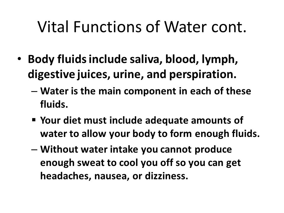 Vital Functions of Water cont.