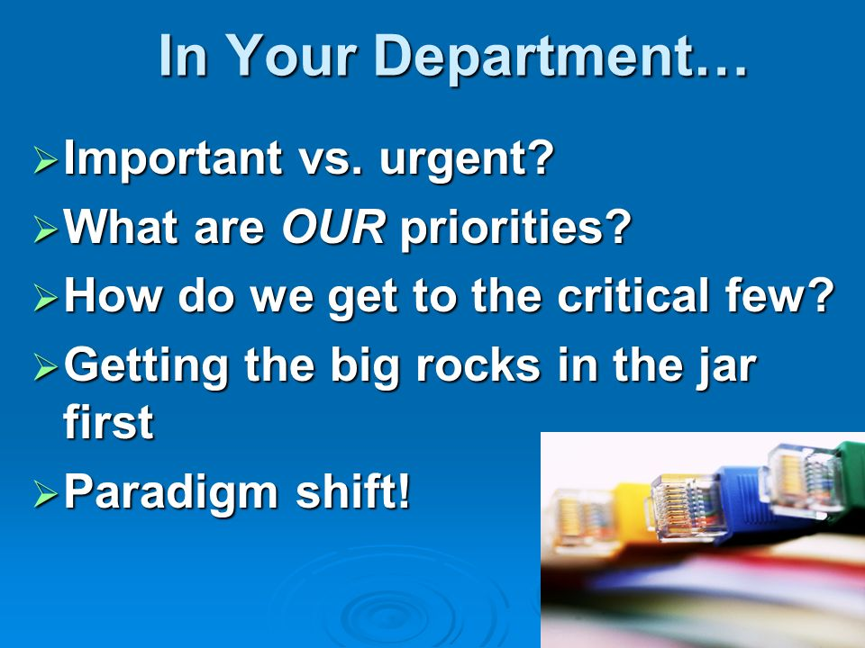 In Your Department… Important vs. urgent What are OUR priorities