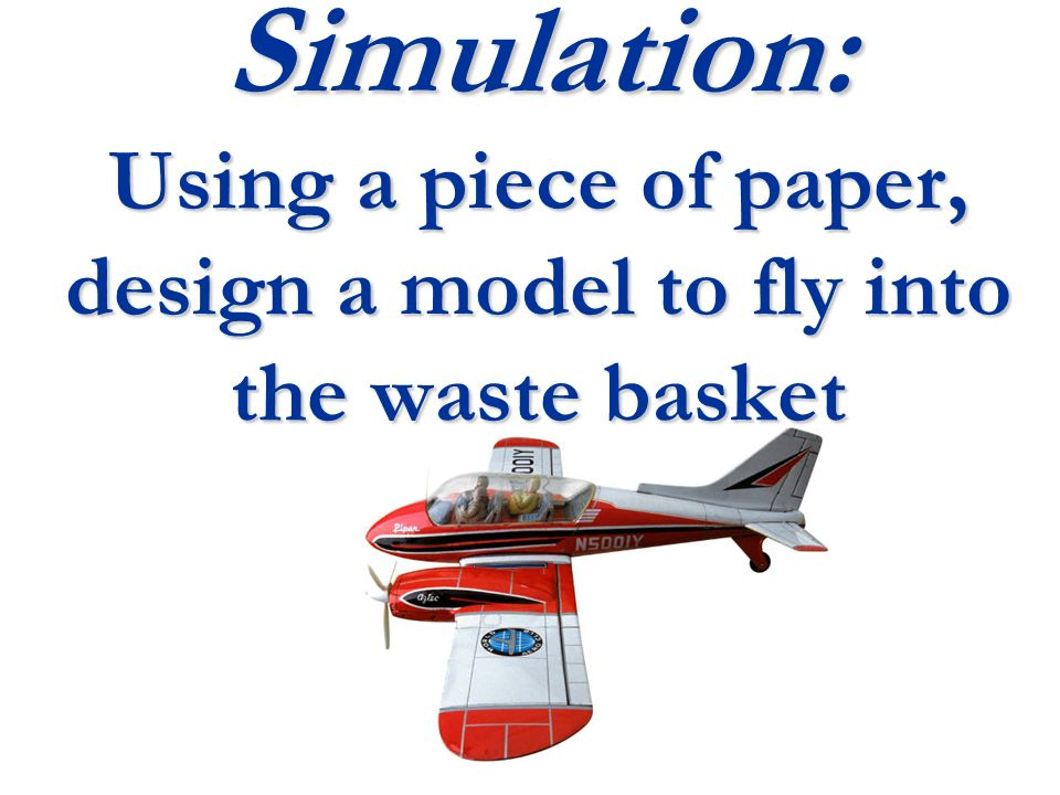 Simulation: Using a piece of paper, design a model to fly into the waste basket